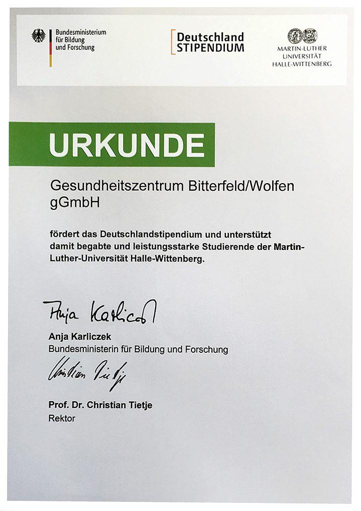 Urkunde Deutschlandstipendium 2018