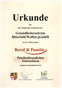 Urkunde Familienfreundliches Unternehmen 2018